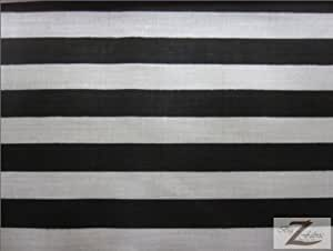 1-Inch Stripe Poly/Cotton Fabric By The Yard, 60-Inch Wide, Black And White.