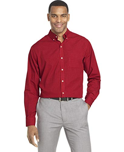 Van Heusen Men's Wrinkle Free Poplin Long Sleeve Button Down Shirt, Rusty Red, X-Large ()