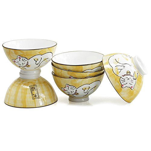(Sleeping Kitty Cat Yellow Porcelain Asian Rice Bowl, Set of 6)