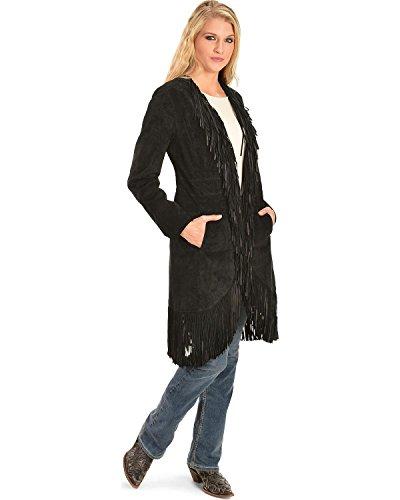 Scully Women's Helena Long Soft Suede Fringe Leopard Lining Coat, Black, SM