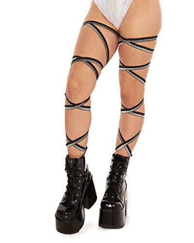 iHeartRaves Pair of Non-Slip Rave Leg Wraps (Black with Silver Glitter)