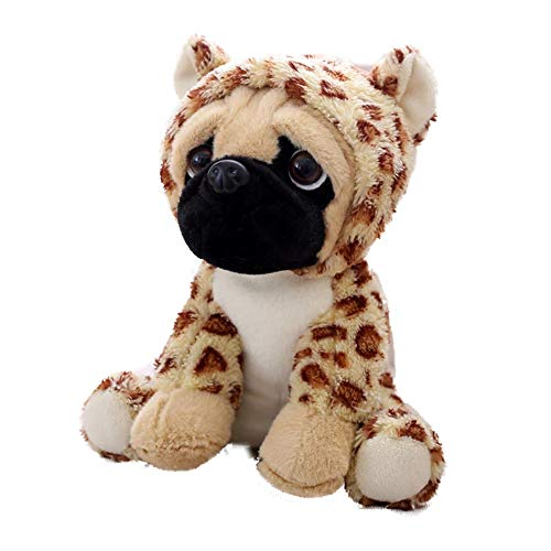 FONGFONG Realistic Stuffed Pug Dog Puppy Soft Plush Cuddly Animal Toy Shar Pei Dog Doll in Costumes for Infant Baby Kids 8 Inches Leopard ()