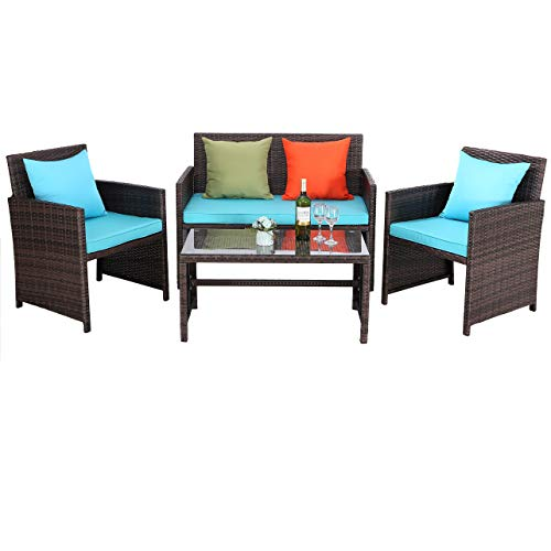 Do4U Outdoor Patio Furniture Set 4 Pcs PE Rattan Wicker Garden Sofa and Chairs Set with Turquoise Cushion with Table (Mix-Turquoise) (Furniture 4 Patio Chair)