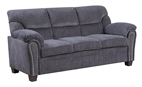 Furniture World Jefferson Sofa, Gray Chenille Fabric
