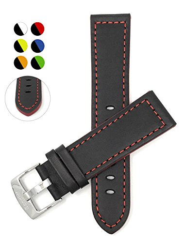 - Leather Watch Strap Band, Racer, 20mm, Black with Red Stitching
