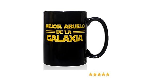 Taza mug desayuno de cerámica negra 32 cl. Modelo Mejor Abuelo de la Galaxia.: Amazon.es: Hogar