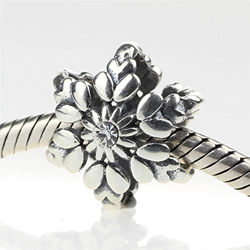 Calvas Authentic 925 Sterling Silver Snowflake Charm Beads DIY Fit for European Bracelet /& Necklace Vintage Jewelry