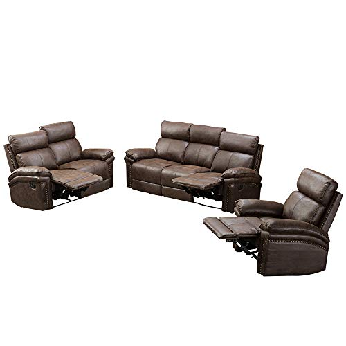 Romatlink Leather Sofa Recliner Sofa Sofa Set 3 Piece/Chair Bonded Leather Living Room Furniture Gold Stamping Fabric Tufted Cushions with 3-Seat Sofa, Loveseat and Recliner Chair (Sofa Set Tufted)