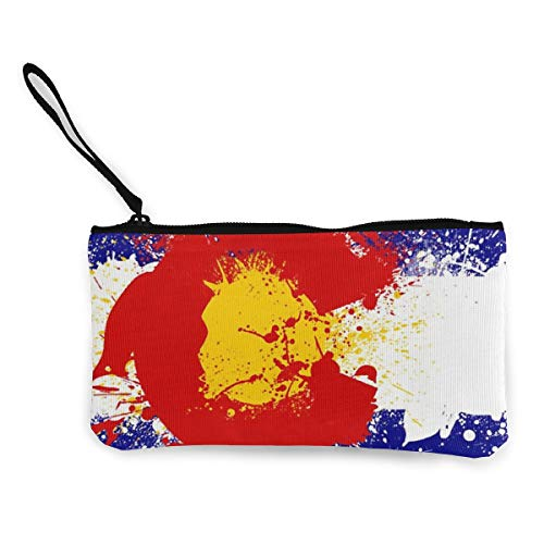 TLDRZD Colorado State Flag Wallets for Women Card Holder Zipper Purse Phone Clutch Wallet Wristlet with Wrist Strap