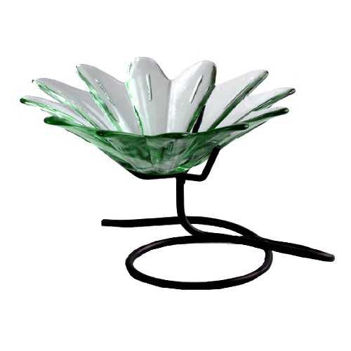 Colorful Daisy Shaped Glass Serving Chip & Dip Dish or Candy Nut Bowl ~ G148 Clear Table Top Glass Serving Bowl Serve Ware w/ Metal Stand for Chip & Dip Combos, Fruit or Displaying Potpourri (9 Inch Daisy Bowl)