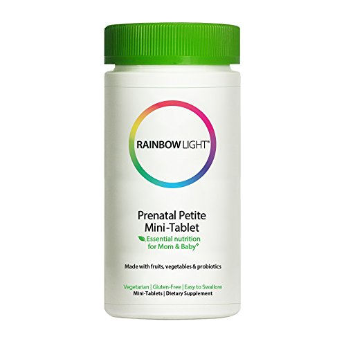 Rainbow Light - Prenatal Petite Mini-Tabs, Promotes Brain Development and Supports Red Blood Cell Production for Energy with Folic Acid, Iron and Vitamins A and D, Vegetarian, Gluten-Free, 180 - Rainbow Organic Prenatal