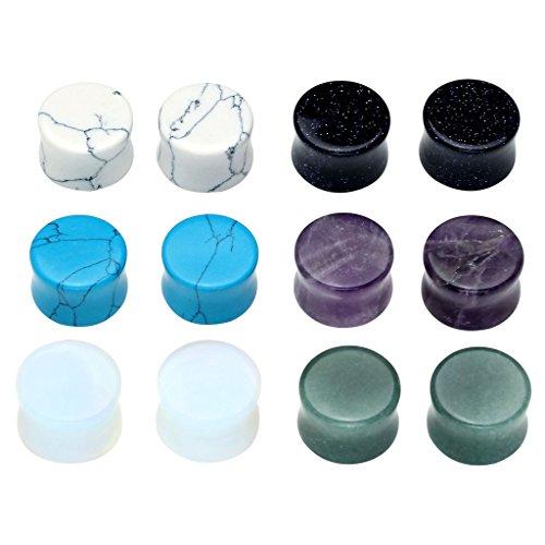 Jade Ear Plugs - PiercingJ 12pcs Natural Gem Stone Double Flared Saddle Plug Gauge Ear Stretcher Piercing Jewelry Gauge kit 2g 0g 00g 12mm 14mm