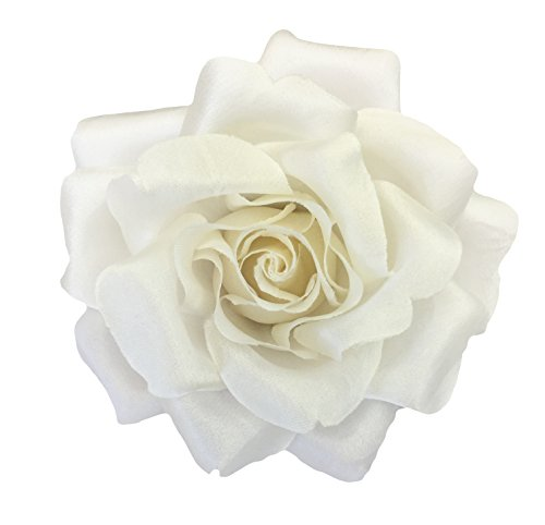 Silk Rose Flower Pin Brooch Off-White (Light Ivory) Silk Flower Hand-made in New York's Garment Center (American Made) ()