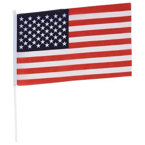 American Patriotic USA Flag 11.4 x 6 in Mini United States of America Nylon Sticks Flags (3 Qty)