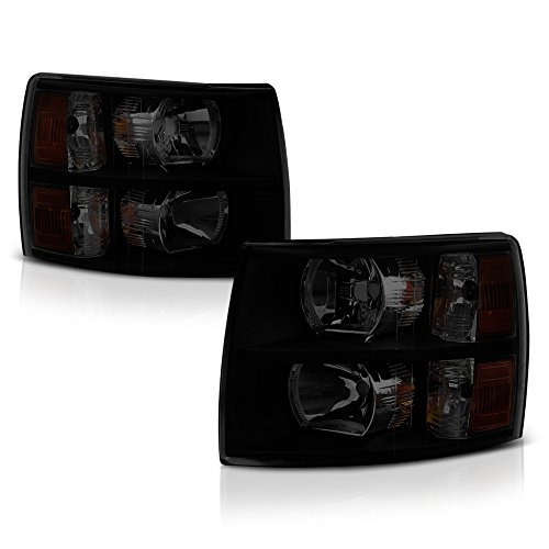 - VIPMOTOZ Black Housing Smoke Lens OE-Style Headlight Headlamp Assembly For 2007-2013 Chevy Silverado 1500 2500HD 3500HD Pickup Truck, Driver & Passenger Side