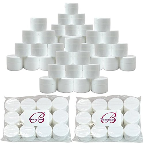 Beauticom 84 Pieces 7G 7ML 0.25oz WHITE Sturdy Thick Double Wall Plastic Container Jar with Foam Lined Lid for Lotion, Creams, Toners, Lip Balms, Makeup Samples – BPA Free