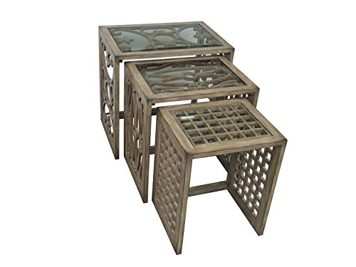 Pulaski Vivienne Nesting Tables, 29.75 by 29.75 by 22-Inch, Natural (Pulaski Glass Table)