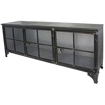 chemin_de_campagne enfilade bahut buffet meuble tele tv meuble industriel fer metal verre
