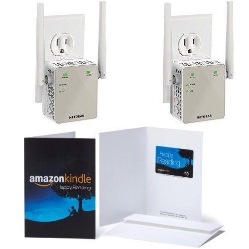 2-Pack of Netgear AC1200 WiFi Range Extender - Essentials Edition (EX6120-100NAS) & 1 $10 Amazon.com Gift Card by NETGEAR