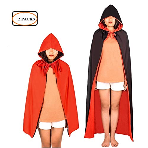 MediaLJia 2 Pieces Cape Black and Red Vampire Magician Cloak Halloween Masquerade Party Costume Dress for Adults and -
