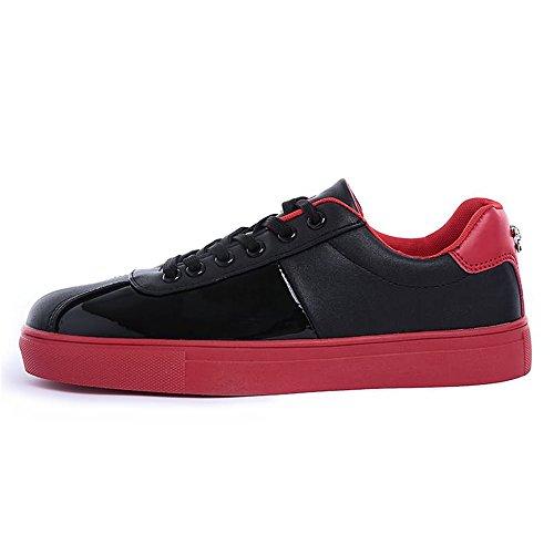 Dimensione tinta con EU 41 tacco uomo Color Scarpe shoes da casual in verniciata Giallo unita pelle Xiaojuan Nero basso wAZqx