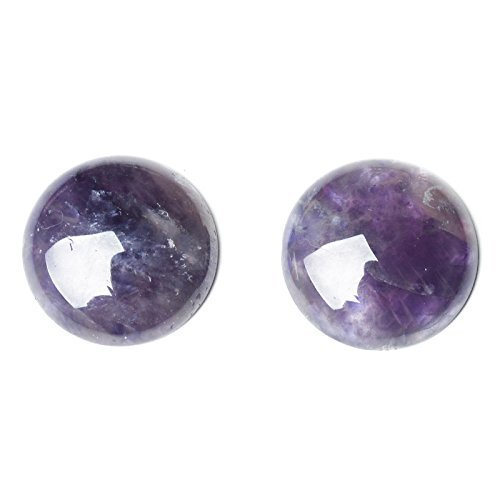 Pack of 4 x Purple Amethyst 10mm Coin-Shaped Flat-Backed Cabochon - (CA16682-2) - Charming Beads