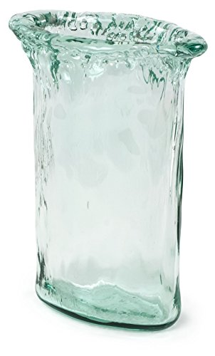 100% Recycled Glass Textured Small Oval Vase - 7.25''Lx4.25''Wx10''H by Traders and Company