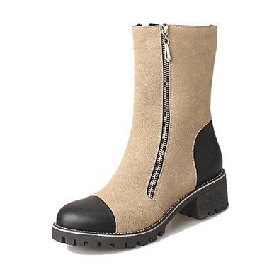 WSX&PLM Da donna-Stivaletti-Casual-Others-Quadrato-PU (Poliuretano)-Nero / Kaki , khaki , us8 / eu39 / uk6 / cn39
