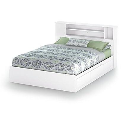Amazoncom Vito Fullqueen Bookcase Headboard 5460 Pure White