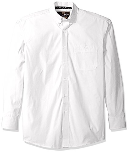 (Wrangler Men's George Strait One Pocket Button Long Sleeve Woven Shirt, Flat White, XL)