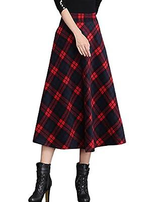 Tanming Women's Elastic Waist A-Line Pleated Wool Plaid Long Skirt