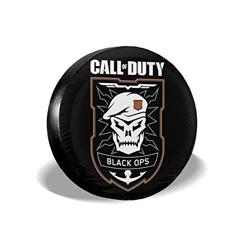 REECECAM Call of Duty Black Ops 4 Potable Polyester Universal Spare Wheel Tire Cover Wheel Covers for Jeep Trailer RV SUV Truck Travel Trailer Accessories(14,15,16,17 Inch)