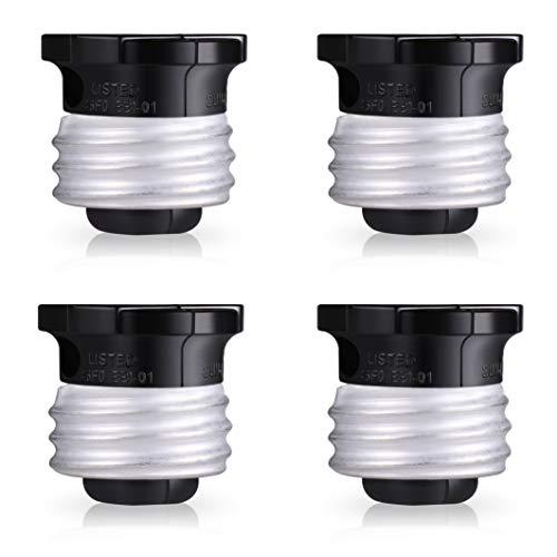 (CACKSS Polarized Handy Plug, 4 Pack, Bulb Socket Adapter, Convert Light Socket to Outlet Splitter, E26 the US Standard Screw Light Holder, Easy-to-Install, UL Listed, Black)