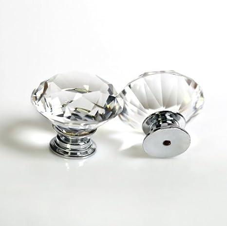 pomelli in cristallo acrilico tagliati a forma di diamante 10 x 30 mm per la decorazione della casa per credenze della cucina e cassettiere con vite Dproptel