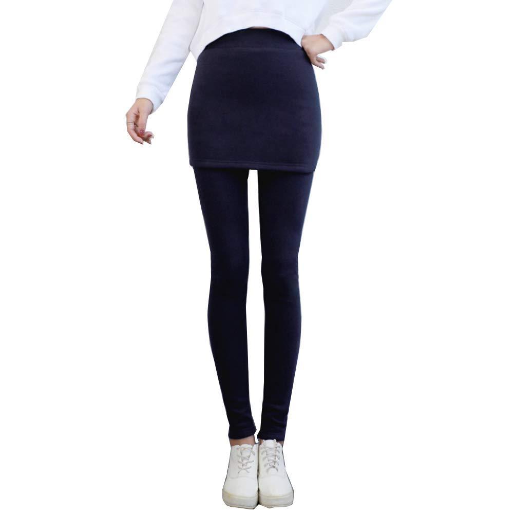 Comcrib Leggings mit Minirock Damen Elegant Hose mit Rock Schwarz Leggins Warme Elastizität 2 in 1 Culottes Zeigen Sie Ihre Figur Kleid Für Alltag Casual Freizeit Frühling Herbst