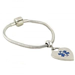 """N Style ID Pan-Dorra PRE-Engraved """"PACEMAKER"""" Medical ID Bracelet - Heart Alert Charm"""