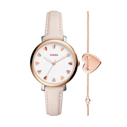 (Jacqueline Three-Hand Pastel Pink Leather Watch and Jewelry Box Set)