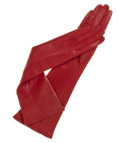 Fratelli Orsini Women's Italian ''8 Button Length'' Silk Lined Leather Gloves Size 7 1/2 Color Red by Fratelli Orsini
