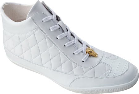Belvedere Men's Alessio Quilted Hornback High Top Sneaker,White Crocodile/Soft C ()