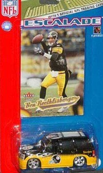 (Pittsburgh Steelers 2005 NFL Fleer Diecast Escalade 1/64 Scale Truck Collectible Team Car with Ben Roethlisberger Card)