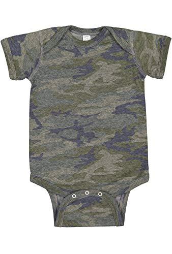 (Rabbit Skins Infant 100% Cotton Jersey Lap Shoulder Short Sleeve Bodysuit (Vintage Camo, 12 Months))