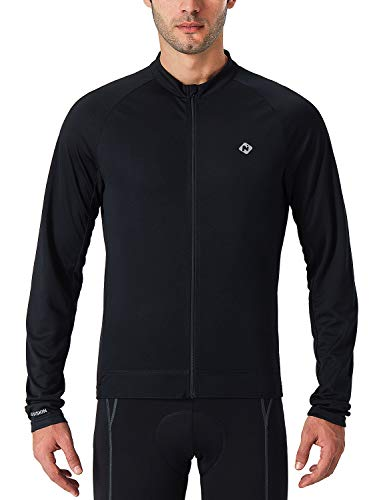 NAVISKIN Men's Quick Dry Cycling Bike Jersey Full Zip Long Sleeve Biking Shirt Black Size S