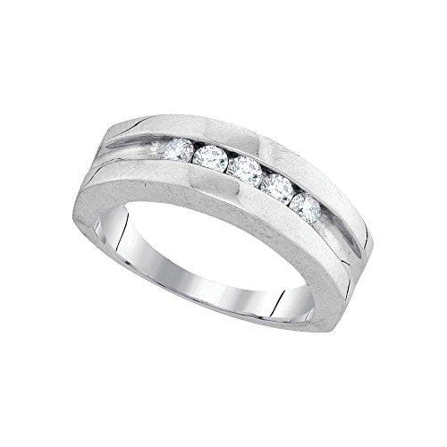 10kt White Gold Mens Round Diamond Band Wedding Anniversary Ring 1/2 (Mens Diamond Anniversary Ring)