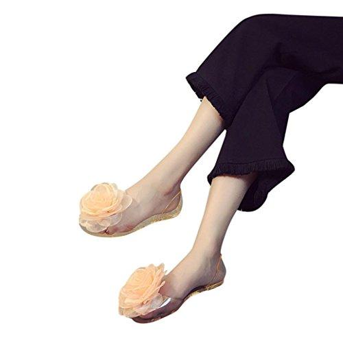 Sandali Fheaven Per Donna - Scarpe Da Donna Piatte In Punta Piatta Trasparente Antiscivolo Scarpe Da Spiaggia Oro