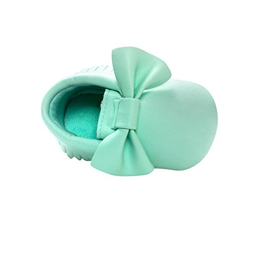 Norbi Baby Infant Toddler Bow Tassels Soft Sole Leather Shoes , 0-6 Months, #I- Mint
