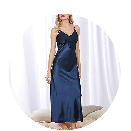 Summer Nightgowns Sleepshirts Sleepwear Shirt Elegant Silk Dress Sexy Ladies Pajamas Plus Size,Blue,XXXL -