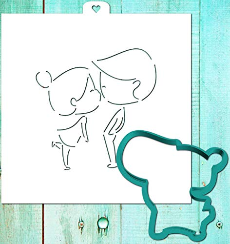 Cookie Cutter with Stencil set COUPLE in LOVE, KISS