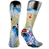 Unisex Performance Cushion Crew Socks Tube Socks Blue Fire Ace Cards New Middle High Socks Sport Gym Socks