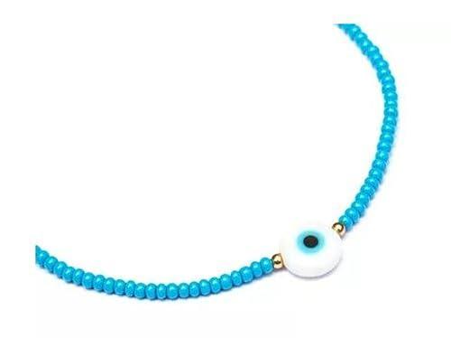 80d31d99243b Pulsera cabalistica azul ojo turco blanco plano