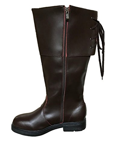 Dlx Men's Brown Pirate Costume High Boot PU Leather Buccaneer Swashbuckler 8-13